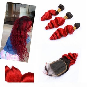 "Malaysian Ombre Weave Hair Human Bundles with Closure 4"" * 4"" Dark Root Loose Wave #1B #Red Virgin Bundles with Closure"