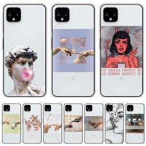 Mona Lisa Sanat David Hatları Telefon Kılıfları 4A 5 Fundas Kapak Yumuşak TPU Coque Google Piksel 3 3A 4 XL Silikon Kılıf