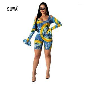Suwa Newon Paisley Imprimir Curto Jumpsuit 2020 Venda Quente Mulheres O Pescoço Longo Flare Manga Oco Out Casual Playsuit Streetwear1