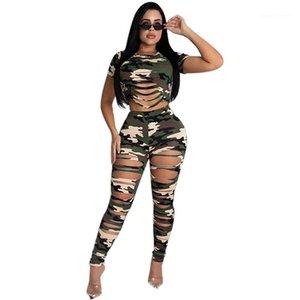 Hosen Casual Crew Neck Sexy Zwei Teil Sets Camouflage Gedruckt Damen Kleidung Aushöhlen Womens Two Piece