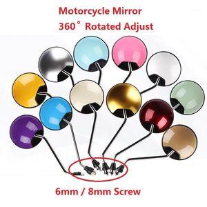 6 / 8mm 스크류 라운드 여러 가지 빛깔의 오토바이 백 뷰 미러 360 ° 회전 유니버설 Rearview Mirror Mirrors Moped Side1