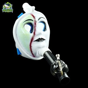 DHL shipping new scary gas face mask water smoking pipe cool dab wax tobacco vaping bongs face pipes tool vape buner