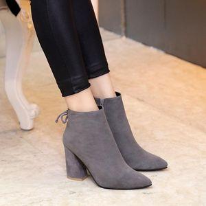 hot! u654 3 colors genuine leather matte thick heels short boots runway designer boyish stylish fashion vogue s