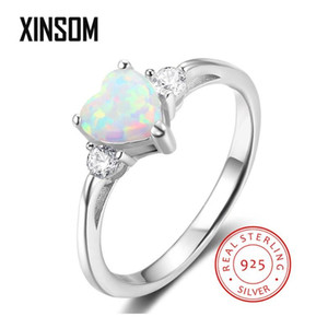 XINSOM Fashion 925 Sterling Silver Rings For Women Romantic Heart Shape Opal Rings With Zircon Engagement Wedding Jewelry Gifts