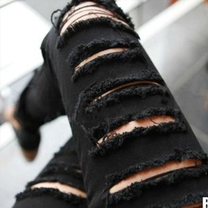 lady fashion casual pencil pant black white ripped slim pants blended cotton hole skinny leggings with pocket pleated trousers