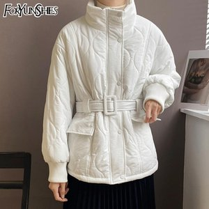 FORYUNSHES Women's Slim Short Parkas Coat With Belt Casual Sweet Female White Cotton Padded Jacket Outerwear 2020 Preppy Style