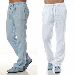 Calças de lazer de verão 6 cores 100% linho algodão elástico cintura homens calças regulares de flax de flax homens casuais calças y200114