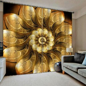 Golden curtains European 3D Curtains angel design For Living Room Bedroom stereoscopic