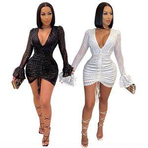 Ipwz New Neck v Printed Stand Colares Long Designer Vestidos Casuais Blusa Blusa Vestidos Designer Letter Sleeve Vestidos