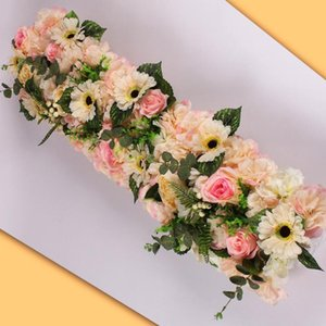 1M Road Cited Artificial Flowers Row Wedding Decor Rose Peony Flower Wall Arched Door Shop Flower Row Window T Station Christmas