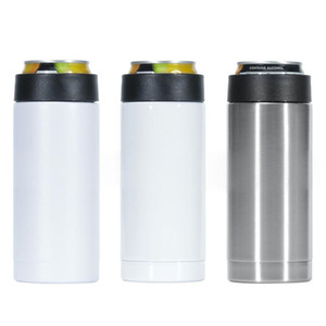 12oz Sublimation Can Cooler Heat Transfer Slim Straight Cup Insulator Stainless Steel Double Wall Beverage Cold Keeper DHF2364