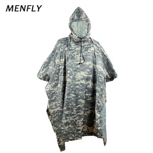 MENFLY ACU Camouflage Poncho Canopy Moisture-proof Mat Cycling Travel Raincoat Forest Field Charge Jacket Rainy Day Camping Q1201
