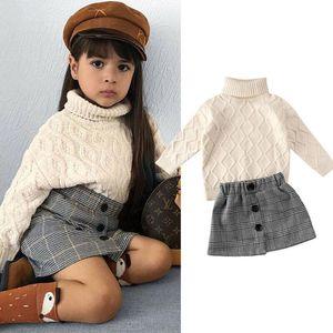 Großhandel ins herbst kleinkind kinder mädchen kleidung pullover fallen winter strickte pullover + röcke anzug frühling langärmeln outfit