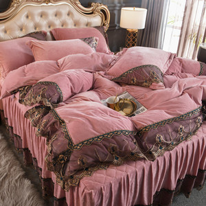 Four-piece Bedding Sets Princess Style Coral Fleece Double-sided Velvet Quilted Bed Skirt Lace Flannel Duvet Cover Bedding High Quality
