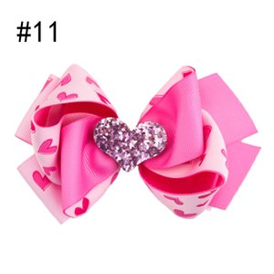 free shipping 12pcs 4.5'' Valentine Hair Bow Boutique Stacked Hair Bow Hair Clip accessories love