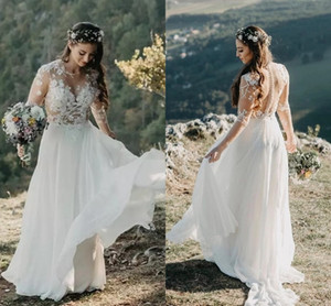 Bohemian Vintage Wedding Dress With Long Sleeves Sexy See Through 2021 Country Rustic Bridal Gowns Beach Chiffon A Line Vestidos AL7823