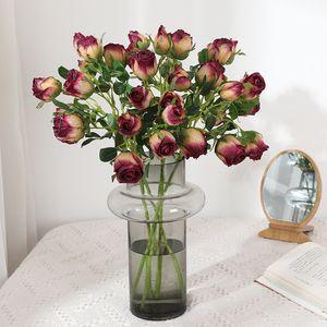 European Rose Artificial Flowers Single Branch Vintage Edge Fake Roses Home Decoration Wedding Display Flower Arrangement Wreath