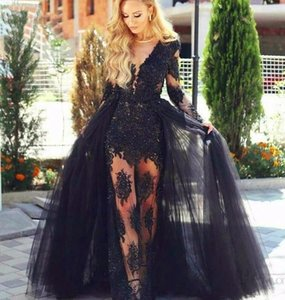 Setwell Deep V-neck Sheath Evening Dresses Long Sleeves Sexy Lace Appliques Plus Size Prom Party Gowns With Overskirt