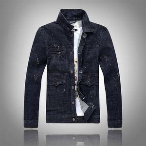 2020 Men New Denim Jackets Slim Male Washed Jean Coats Black Ink Splash Long Sleeve Spring and Autumn Outerwear Fashion Street