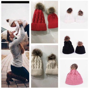 Paprent-child Twist Pom Pom Beanies Crochet Winter Hat Women Kids Children Cuffed Skull Caps Knitted Tuque Ski Earmuff Slouchy Hats E112002