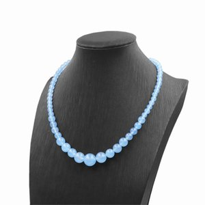 Fashion Round Aquamarines Beads Necklace Choker Pendant Natural Stone Necklaces Statement Women Tower Chain Jewelry 18inch A847
