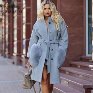 2021 Neue Mode Wollmischung Jacke mit natürlichem Pelz Großer Taschenkragen Hohe Qualität Echtleder Frauen Winter Mantel NZ-070