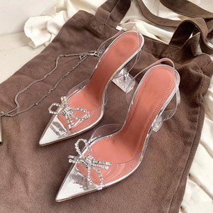 Summer's new crystal stiletto sandals, rhinestone bow heels, wedding, party shoes, size 35-40, with box and dust bag