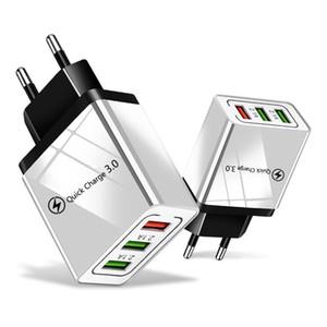 Cgjxs Qc 3 .0 Chargeur 3 Ports Adaptateur Voyage Charge rapide multi Usb téléphone Adaptateurs Eu-nous Charging rapide Portable pour Smartphone