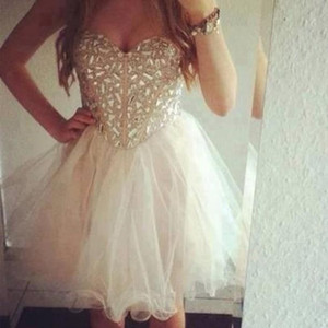 Sexy Homecoming Dresses Champagne Short Cocktail Dresses Sweetheart Beaded Crystal Prom Dresses Formal Custom Party Gowns P184