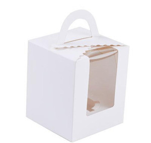 Single Cupcake Boxes With Clear Window Handle Portable Macaron Box Mousse Cake Snack Boxes Paper Package Box Birth bbyjWI yh_pack