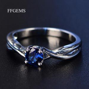 FFGEMS الأحجار الكريمة الجمشت الفضة الدائري الأزرق الياقوت الدائري الفضة 925 مجوهرات حلقات الزبرجد للنساء خواتم الخطبة
