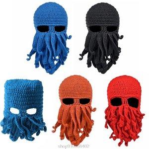 Men Women Creative Funny Tentacle Octopus Knitted Hat Long Beard Beanie Cap Balaclava Winter Warm Mask N17 20 Dropshipping