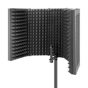 5 Panels Faltbares Studio-Mikrofon-Isolationsschild-Akustikschaum Schallabsorption für die Aufnahme Live-Sendung