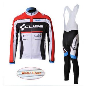 Cubo Team Bike Inverno Inverno Fleece Fleece in bicicletta Jersey Bib Pantaloni Set da uomo Manica lunga Camicie Bib Pantaloni Bib Kit Sportwear all'aperto S21012103