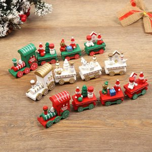 Wooden train Christmas decorations family Santa Claus gifts children toys crafts table decoration Christmas New Year