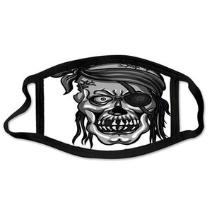 Adjustable Anti Dust Face Mask Pirate Skull In Bandanna Without One Eye Cotton Mouth Mask For Cycling Camping Travel