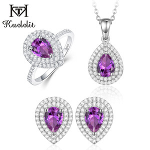 Kuololit Russian Alexandrite Jewelry Set for Women Real 925 Sterling Silver Gemstone Ring Earrings Necklace Anniversary Gifts F1202