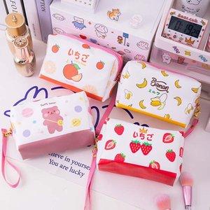 لطيف الحيوانات الفاكهة المكياج حقائب النساء السفر حقيبة التجميل ماكياج حالة سستة حقيبة منظم تخزين الحقيبة حقيبة