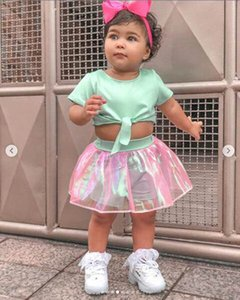 Clearance sale Summer Girls Outfits baby girl clothes Kids Sets 2pcs Tops+Tutu Skirts designer girls clothes Girl Suit kids clothes Z75