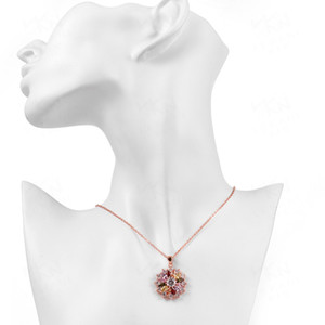 High Woman Necklace Flower Crystal Necklace Hot Selling Colorful Zircon Pendant Clavicle Chain in Europe and America