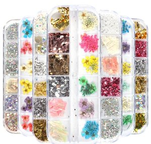 Nail Stickers Real Natural Dried Flowers Nail Art Kit Supplies 3d Applique Nail Decoration Sequins Glitter Decals wmtoEW xhqhlady