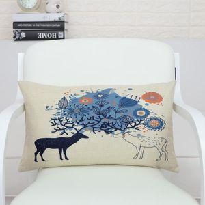 Rectangle decorative Home Textile deer Cushion Cover Lumbar pad almohada soft seat car linen suit cushion pillowcase 30x50 BO-2