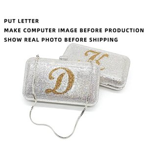 Make it your own personal design bag Bridal wedding party name purses women evening party diamond letter crystal clutches bags