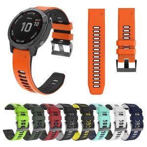 Quick Fit Silicone Wrist Strap for Garmin Fenix 6X 6 Pro 5 5X Plus 3HR 26mm 22mm Dual Color Sport Rubber Band