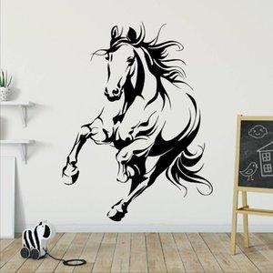 큰 달리기 말 동물 벽 스티커 키즈 룸 침실 말 유니콘 동물 애완 동물 카우보이 벽 데칼 거실 비닐 스포츠 아트 201130