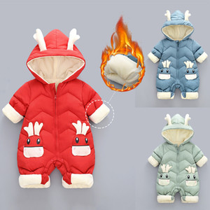 Newborn Baby Girl Boy Winter Thick Warm Jumpsuit Infant Solid Hooded Baby Romper Coat Outwear Jacket Winter Baby Clothes 908 Y1113