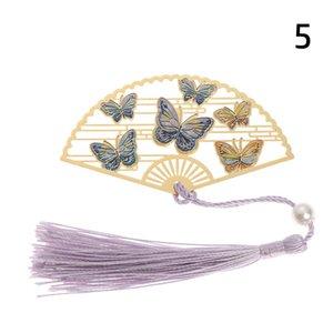 10 Type Bookmark Chinese Style Folding Fan Brass Retro Book Clip Pagination Mark Crane Flower Tassel School Office Supplies H bbyQdF