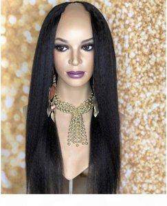 Yaki Düz U Parçalı Peruk Kaba Yaki Bakire Malezya Upart Peruk Ön Preucked İtalyan Yaki İnsan Saç U Siyah Kadınlar Için Şekilli Peruk