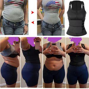 Women Sweat Neoprene Body Shaper Sauna Suit Tank Top Vest with Adjustable Shaper Waist Trainer Corset Belt Slimming Shapewear