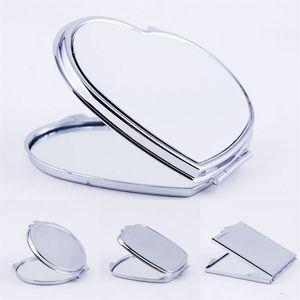 DIY Makeup-Spiegel Eisen 2 Gesichts-Sublimation leeres plattiertes Aluminium-Blech-Mädchen-Geschenk kosmetischer Kompakter Spiegel tragbare Dekoration 3 2x m2